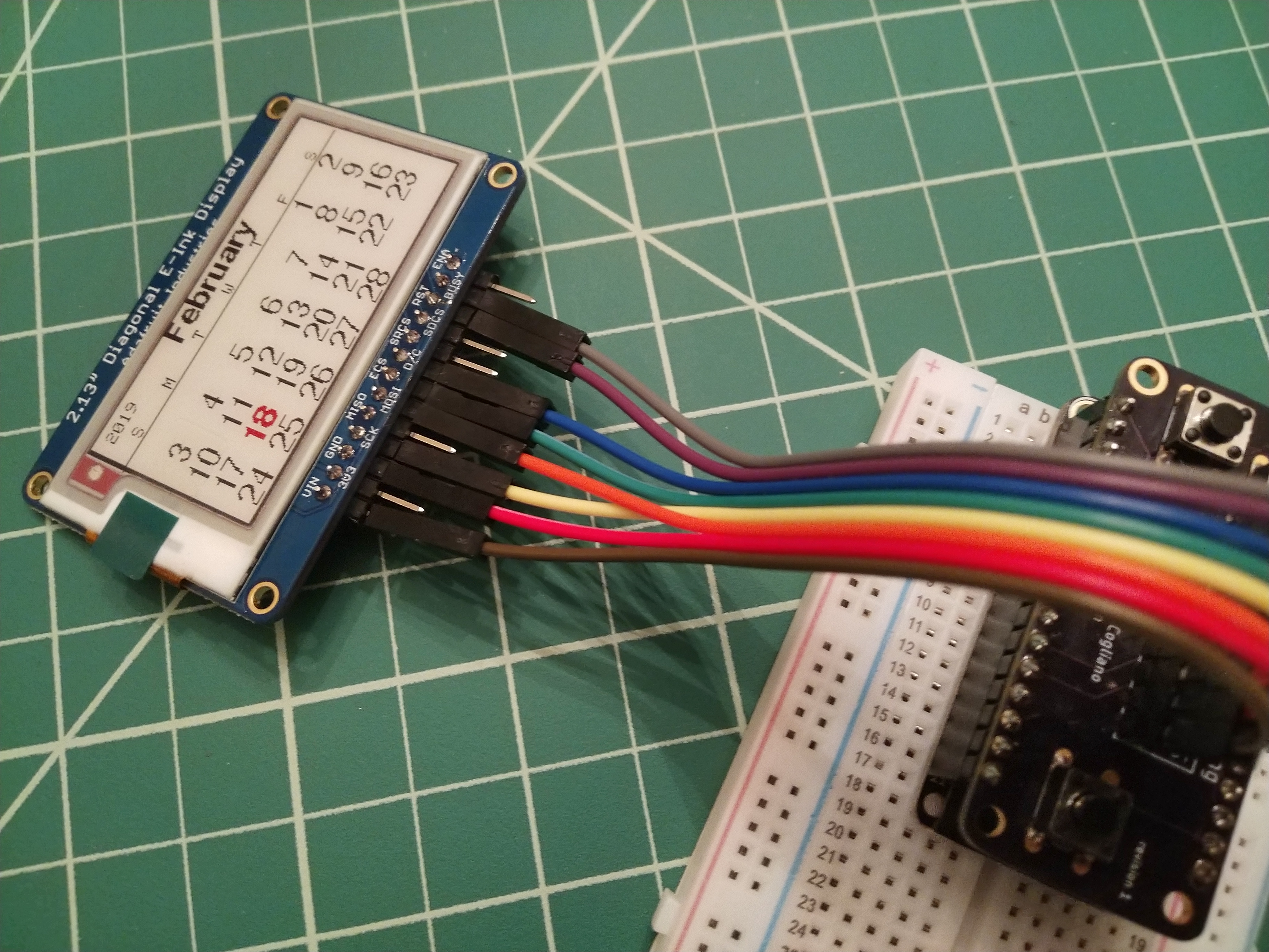 IoT Calendar: Using the Custom Featherwing with Adafruit Tri-Color e